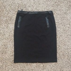Black pencil skirt with leather detail